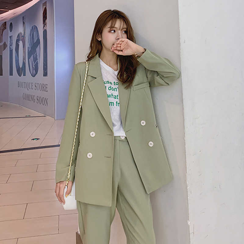 BGTEEVER Vintage Light Green Women Suits Double Breasted Female Pant Suits Blazer Jacket & Pencil Pant Casual 2 Pieces set femme
