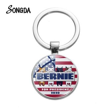 Bernie For President 2020 Keychains US President Campaign Art Photo Glass Round Keyrings Chain Car Men Women Collections image