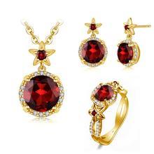 Szjinao 14K Gold Jewelry Sets For Women Boho Flower Engrave Ring Earrings Pendant Set Garnet With Diamond Silver 925 Jewelry Hot