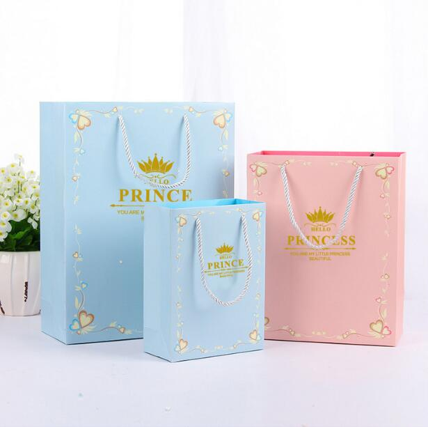 10pcs/lot Baby Shower Party Kids Favors Prince Princess Pink Blue Crown Theme Paper Hand Bags Birthday Decorate Gifts Bags