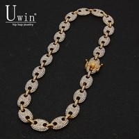 UWIN coffee Bean Link 13 мм страз ожерелье Хип Хоп мода панк цепочка для колье Bling Подвески ювелирные изделия 16 дюймов, 18 дюймов, 20 дюймов