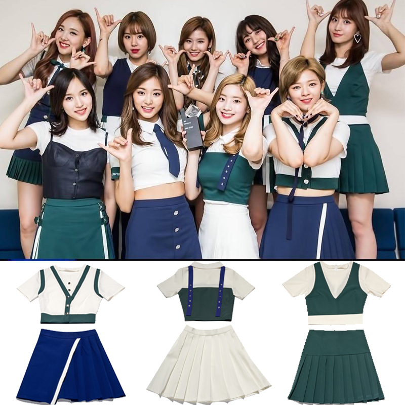 Kpop TWICE Same 2020 New Summer Stage Show Cheerleader Graduation Tshirt And Skirt Two Piece Set Women Student Sweet 2 Piece Set