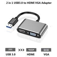 Usb3.0 para hdmi vga adaptador 4 k hd 1080 p multidisplay 2-em-1 usb3.0 conversor para computador portátil