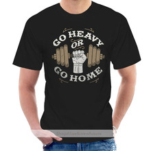 Weight Lifting Gym Rat Athletic Dumbell GO HEAVY OR GO HOME Mens Brown T-Shirt @007331