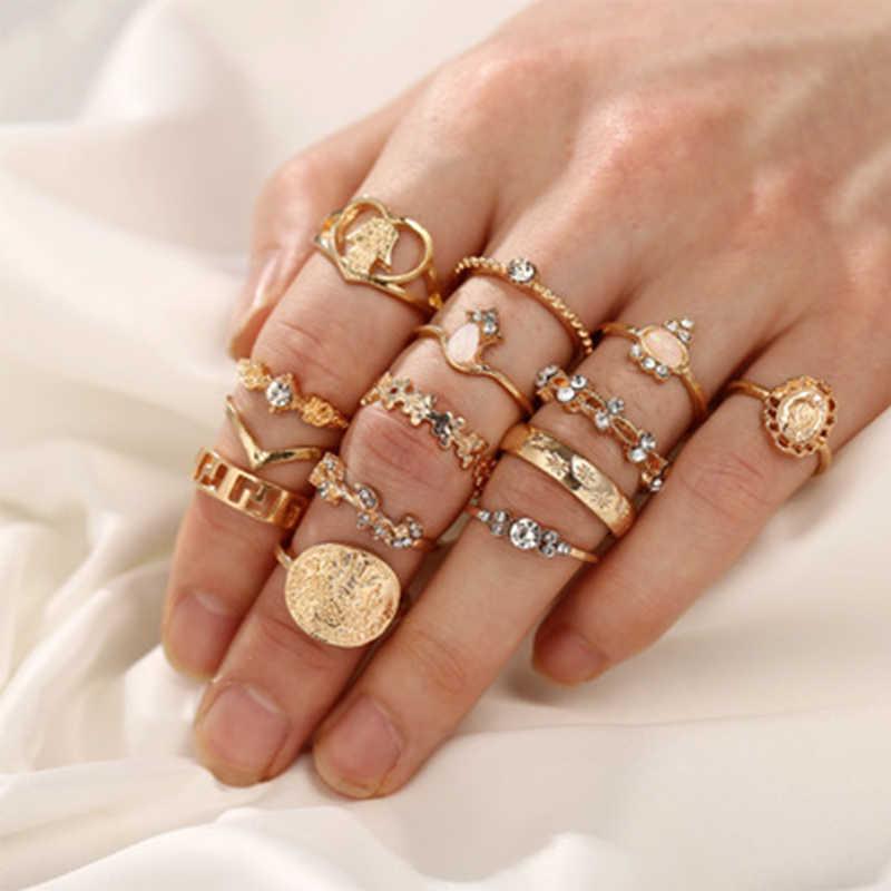 ผสมสไตล์ Bohemian Retro ดอกไม้คริสตัลสำหรับผู้หญิง Moon Star Hollow Lotus อัญมณีแหวนเงินชุดผู้หญิงงานแต่งงานครบรอบของขวัญ