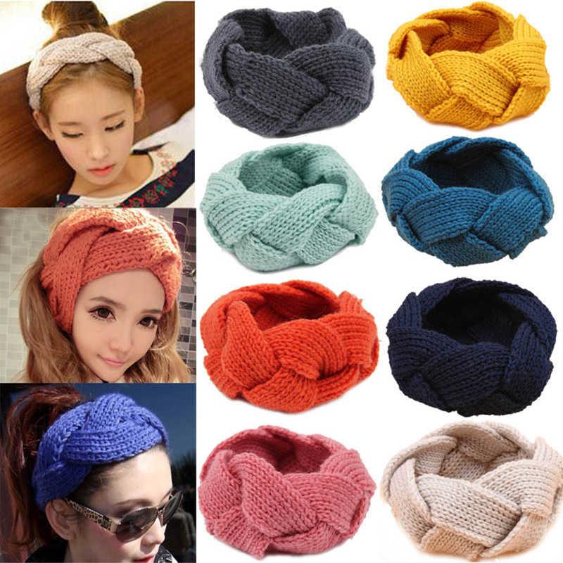 ใหม่แฟชั่นขนสัตว์ Headband Crochet Twist ผู้หญิงถักฤดูหนาวหู Warmer Hair Band Soft Braid Solid Turban diademas