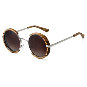Image 4 - All Seasons Men Handmade Wooden Polarized Sunglasses Gradient Gray Lenses UV400 Retro Style Round Women Sun Glasses With Case