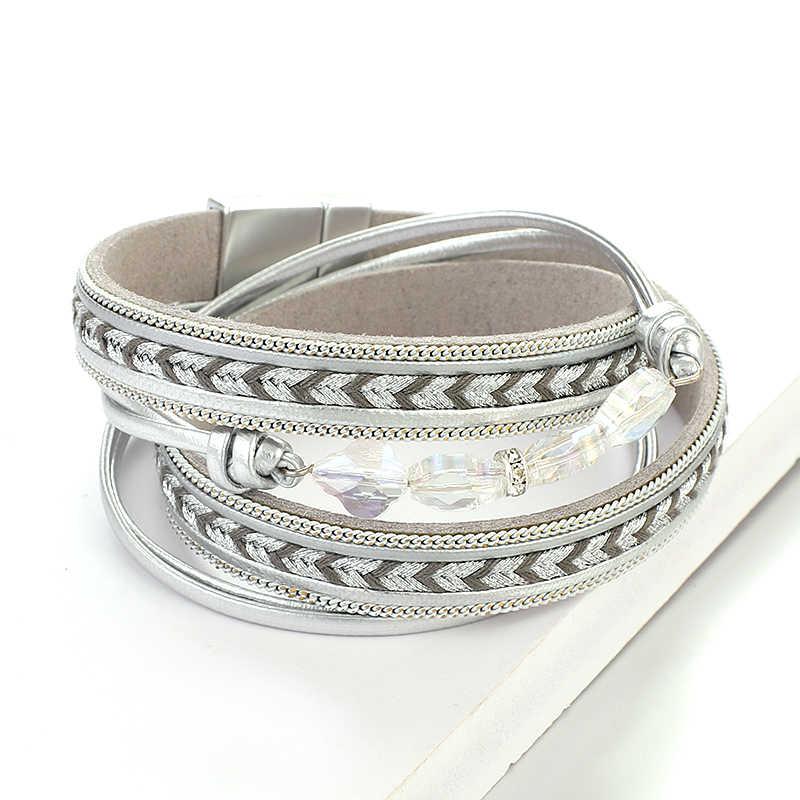 Amorcome grânulos de cristal couro wrap pulseiras para mulheres 2019 senhoras multicamadas ampla pulseira & bangles jóias femininas