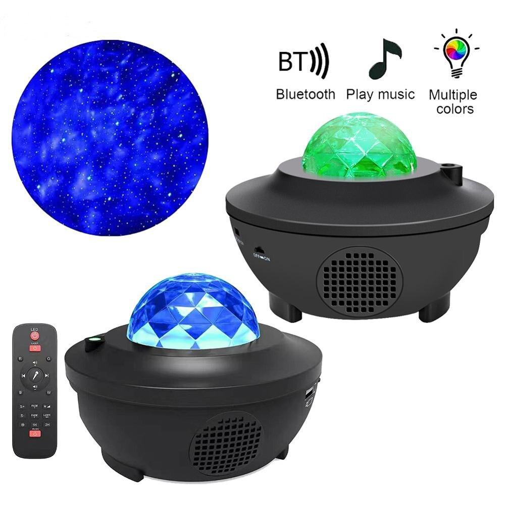 Галактическая Звездная Ночная лампа, светодиодный Звездный проектор, ночник, волны океана, проектор с музыкой, Bluetooth, пульт дистанционного у...