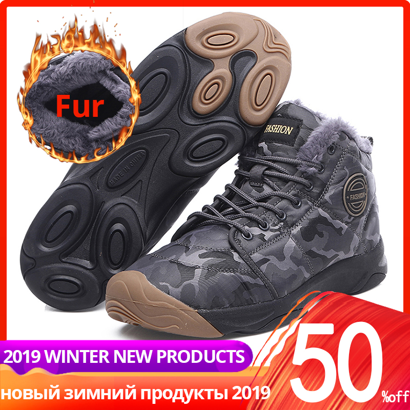36-46 Men Winter Sneakers Boots Casual With Fur Plush Warm Leather Ankle High Top High Quality Men Winter Shoes #XW1908
