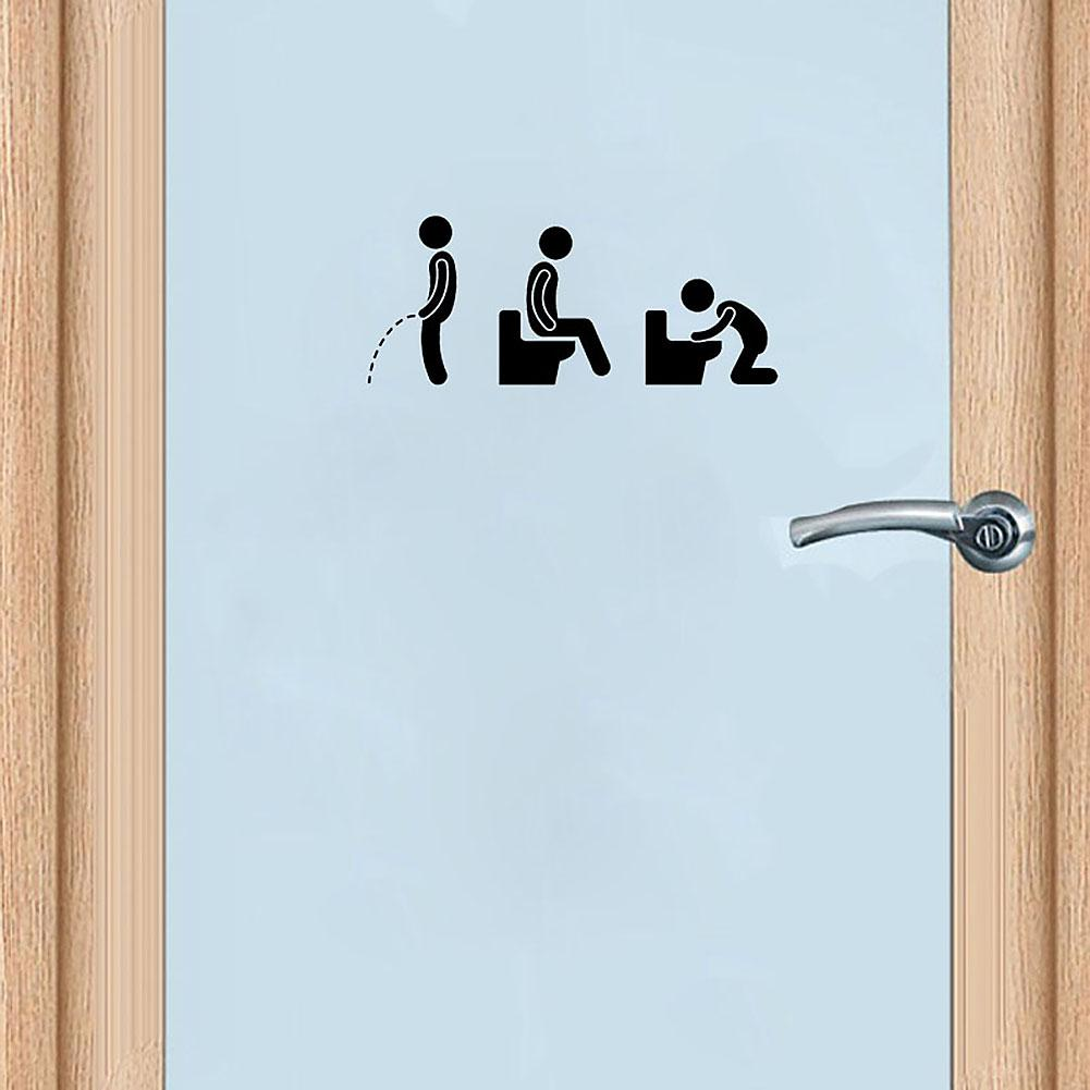 1PC Creative Funny Bathroom Icon Toilet Door Wall Art Decal Sticker Removable Door Ornament Home Decoration