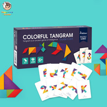 купить Wooden Tangram Preschool Baby Kids Toys intelligence Jigsaw Puzzle Early Learning Educational Toys for Children Games дешево