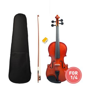 1 4 skrzypce wysoki połysk wykończenie skrzypce Student skrzypce W Case + łuk + kalafonia zestaw dla Biginner skrzypce uczeń naturalny kolor skrzypce tanie i dobre opinie Banjolele Lipa Brazylia drewna Ciemne drewno Heban AV0908-025 Świerk