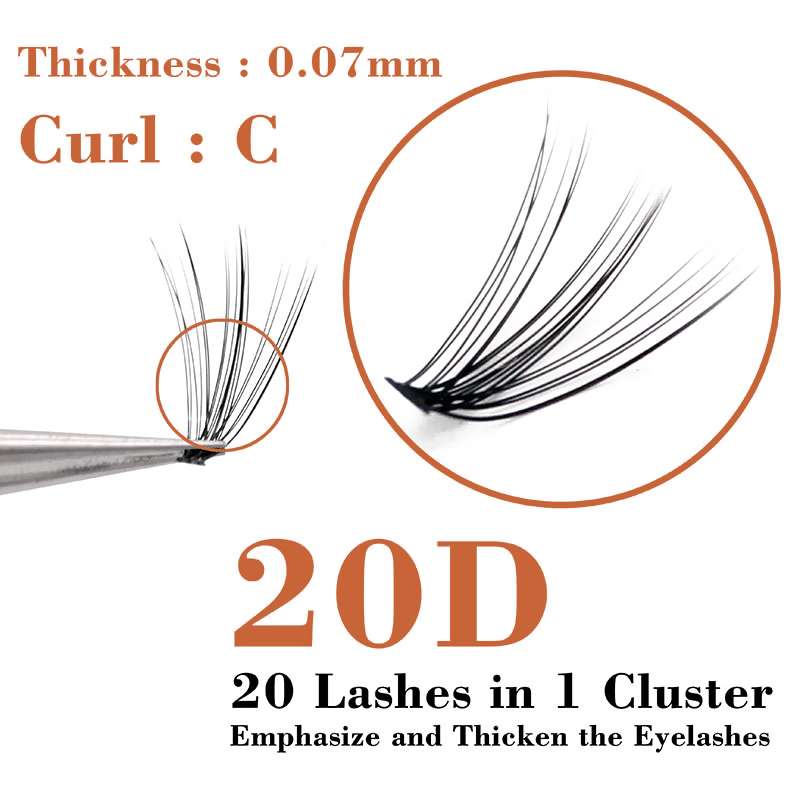 60pcs Natural Long 20D Mink Individual Eyelashes Professional Cluster False Eye Lashes Make up Faux Soft Extension Makeup Tools