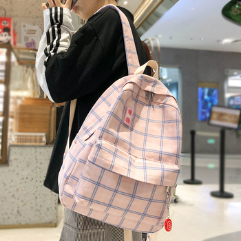 Fashion Girl Book School Bag Plaid Kawaii Backpack Lattice Ladies Student Women Harajuku Cute Backpacks Cotton Fabric Female - discount item  50% OFF Backpacks