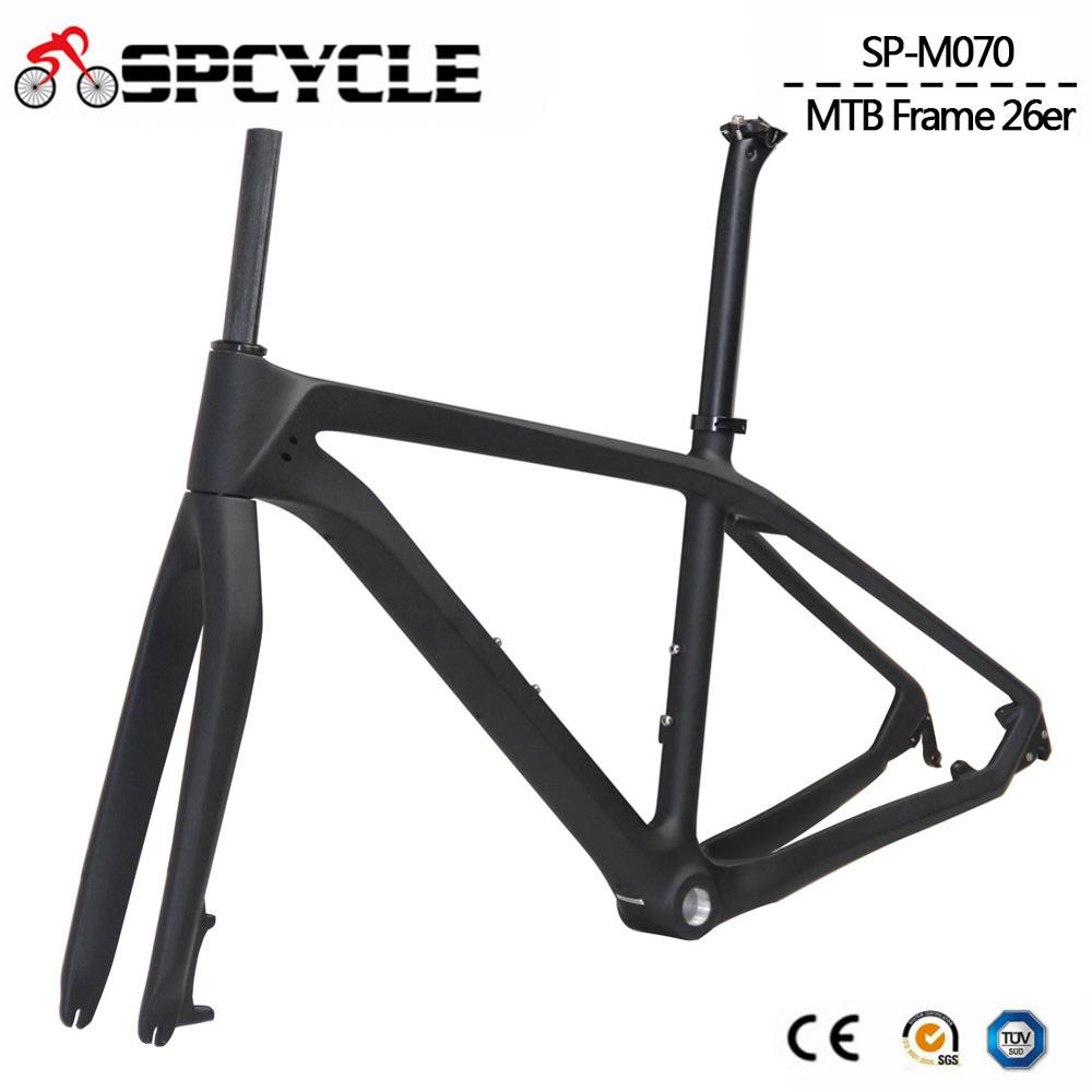 Spcycle 26er Carbon MTB Frame 26er Carbon Mountain Bike Frame With Fork Seatpost Headset Clamp 2 Year Warranty Kids Bike Framese