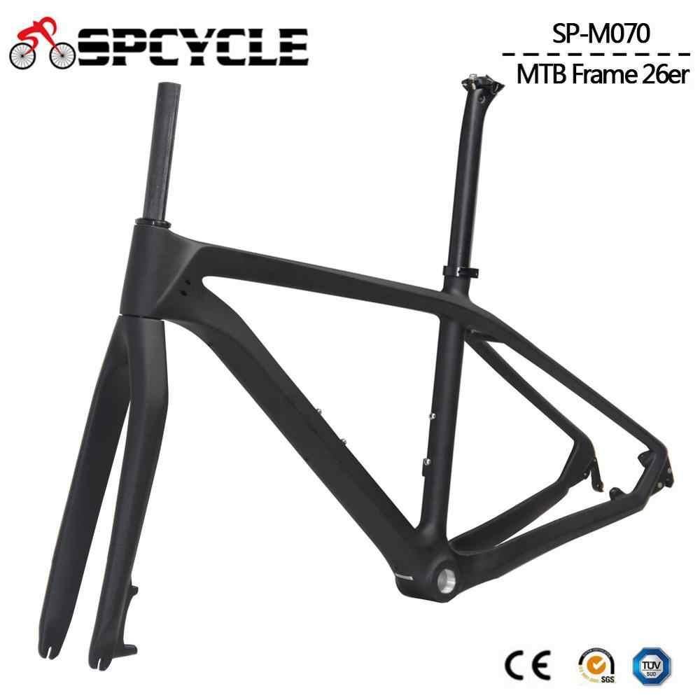 Spcycle 26erคาร์บอนMTBกรอบ 26erคาร์บอนจักรยานกรอบส้อมSeatpostชุดหูฟังCLAMP 2 ปีเด็กจักรยานframese