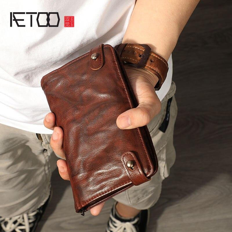 AETOO Vintage Sheepskin Purse, Men's Multi-card Ticket Clip, Large-capacity Leather Cross-hand Bag