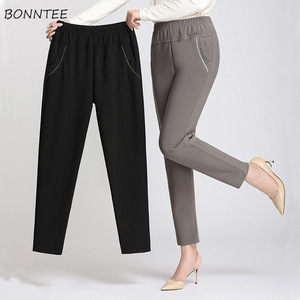 Pants Women Large Size Simple High Waist Leisure Long Trousers Korean Style Straight Womens Pocket All-match Female Office Lady(China)