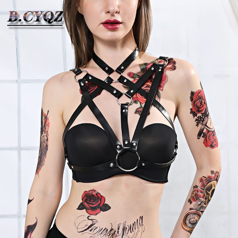 Fashion Leather Harness Belt Women Punk Goth Bra Body Bondage Adjustable Chest Straps Body <font><b>Garter</b></font> Belt Suspender <font><b>Lingerie</b></font> Sexy image