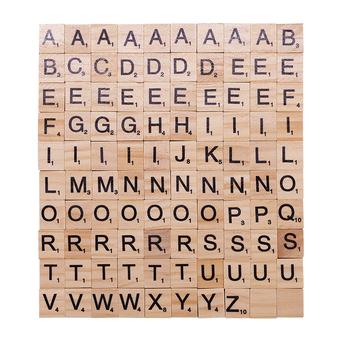 100 sztuk partia drewniane Scrabble litery drewniane alfabet Scrabble czarne litery i cyfry cyfrowe Puzzle drewniane zabawki dla dzieci dobrodziejstw tanie i dobre opinie CN (pochodzenie) Drewna
