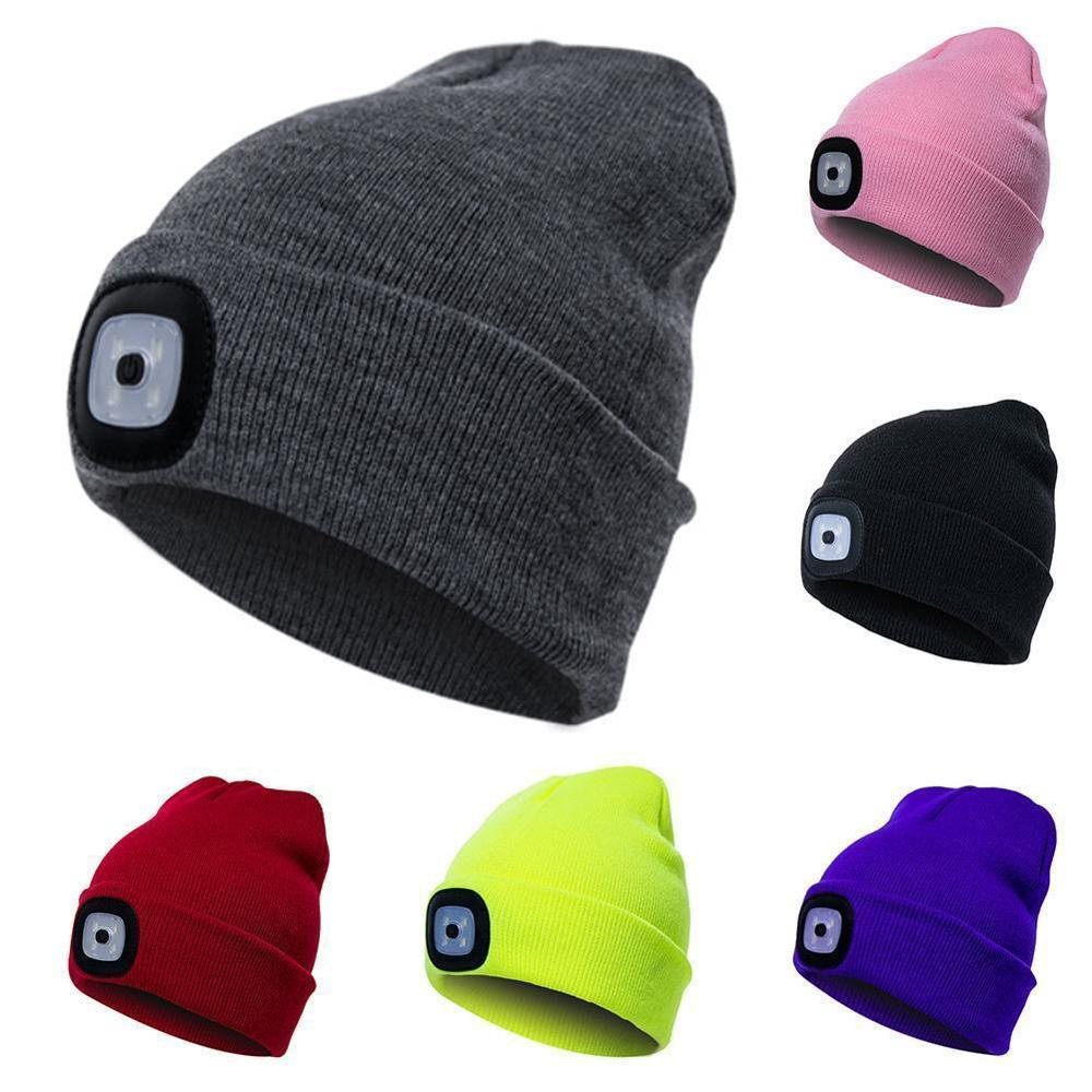Unisex LED Beanie Hat With USB Rechargeable Battery 5 Hours High Powered Light Hat
