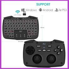 Rii RK707 משחק Controller2.4GHz אלחוטי מקלדת עם 62 מפתחות עכבר קומבו w/משטח מגע עבור PS3 טלוויזיה תיבת חכם טלוויזיה