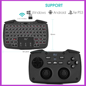 Image 1 - Rii RK707 Game Controller2.4GHz Wireless Keyboard with 62 keys Mouse Combo w/ Touchpad for PS3 TV Box Smart TV