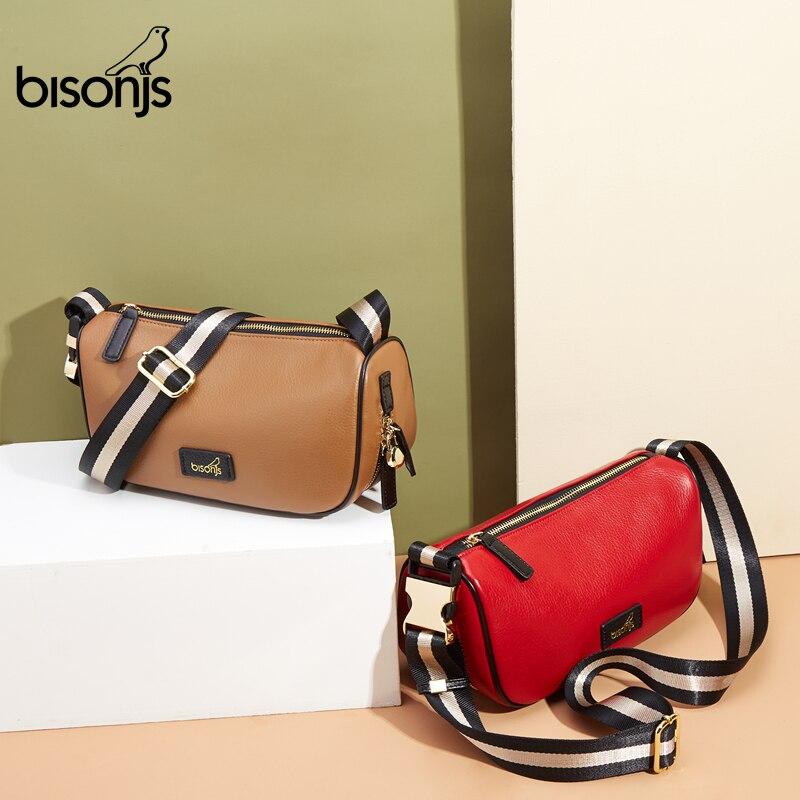 BISONJS Genuine Leather Women Shoulder Bag New Small Crossbody Bag For Women Female Waist Pack Hip Bum Bag B1803
