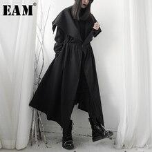 [EAM] Women Black Asymmetrical Big Vent Long Trench New Lapel Long Sleeve Loose