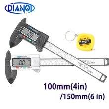 100/150mm 4/6 polegada lcd digital de fibra carbono eletrônico vernier caliper calibre micrômetro medição ferramenta 1m fita medida