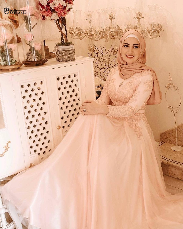Robe De Soirée De Mariage Muslim Evening Dresses Pearl Pink A-Line Appliques Tulle Long Sleeve Lace Elegant Hijab Evening Gowns