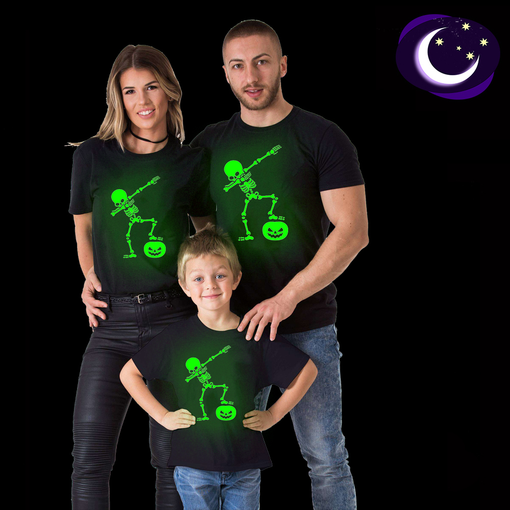 Summer Family Matching Outfits Mommy Daddy Kid Glow In Dark Luminou Skeleton T Shirt Family Match Halloween Shirts Clothes