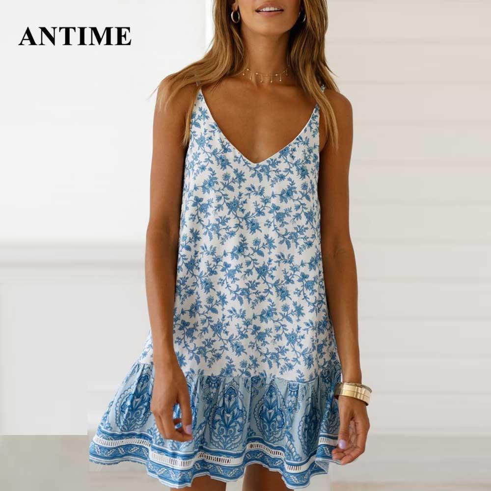 Antime Boho Summer Dress Beach Mini Casual Sundress Sleeveless Women Bohemian Spagetti Strap Dresses Print