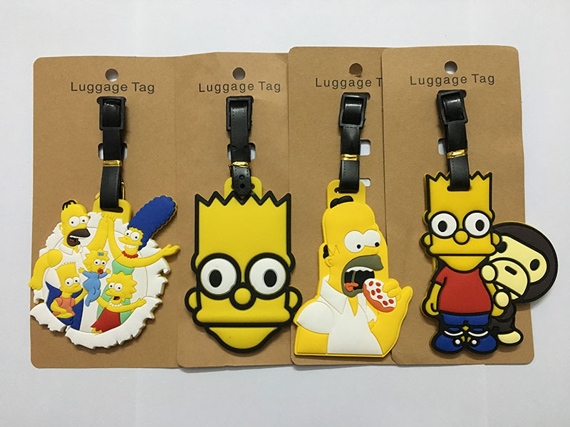 The Simpsons Travel Accessories Luggage Tag Cartoon Silica Gel Suitcase ID Addres Holder Baggage Boarding Tags Portable Label