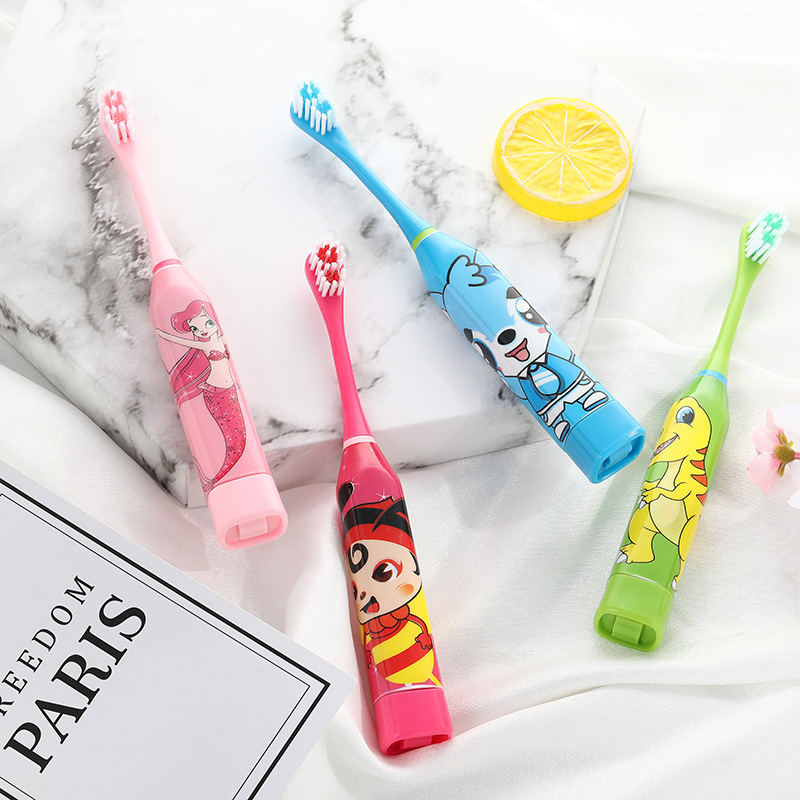 Cartoon Pattern Children Electric Toothbrush Double-sided Waterproof Tooth Brush Oral Cleaning for Kids 2pcs Replacement Head image