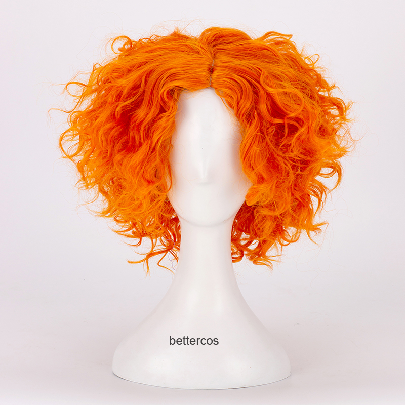 Alice In Wonderland 2 Mad Hatter Cosplay Wigs Tarrant Hightopp Orange Short Curly Heat Resistant Synthetic Hair Wig + Wig Cap