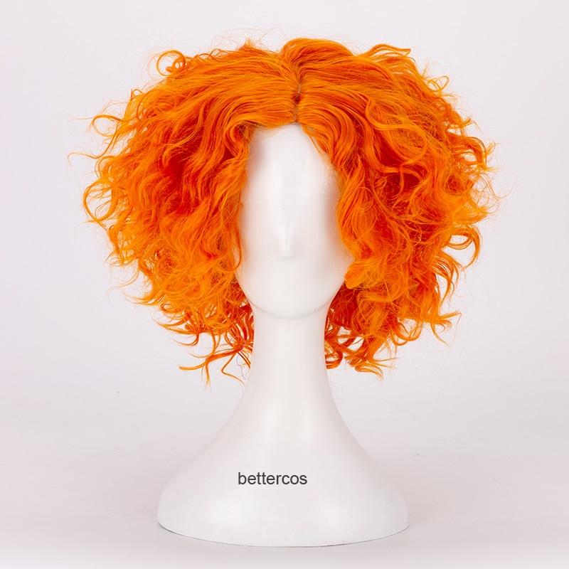Alice no país das maravilhas 2 chapeleiro louco cosplay perucas tarrant hightopp laranja curto encaracolado resistente ao calor peruca de cabelo sintético + peruca boné