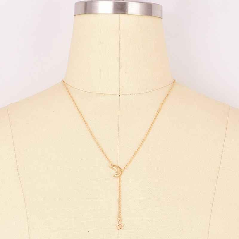 ラリアットネックレスシンプルなクレと月 Y ペンダントネックレスファッションジュエリー