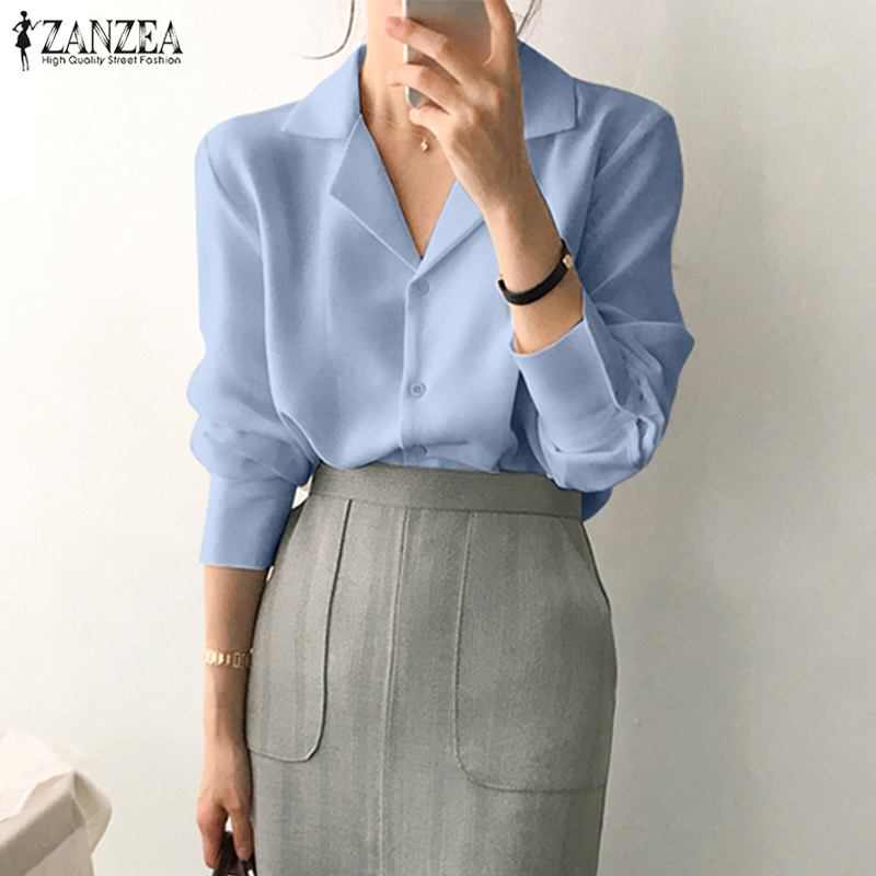 Stylish OL Blouse ZANZEA Spring Long Sleeve Women Shirts Solid Office Tops Casual Elegant V Neck White Blusas Chemise Mujer Top