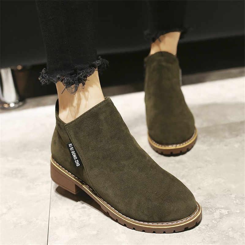 Mới 2019 Phụ Nữ Mắt Cá Chân Giày Đàn Plus Kích Thước Thu Đông Giày Người Phụ Nữ Boot Ngắn Nữ Giày Bốt Martin Nữ Botas Mujer SH09062