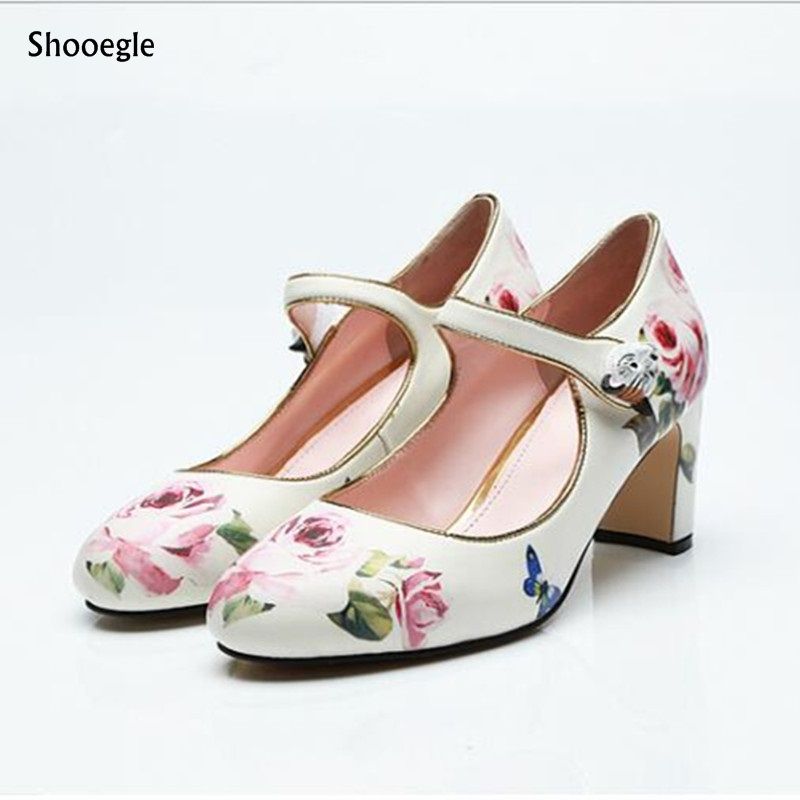 British Style Men Printing Flowers Buckle Strap Round Toe Slip On Business Shoes