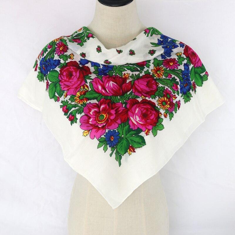 Luxury Besigner Fashion Style Russian Ethnic Pattern Women Cotton Acrylic Small Scarf Handkerchief Scarf 70CMX70CM Hijab Shawl