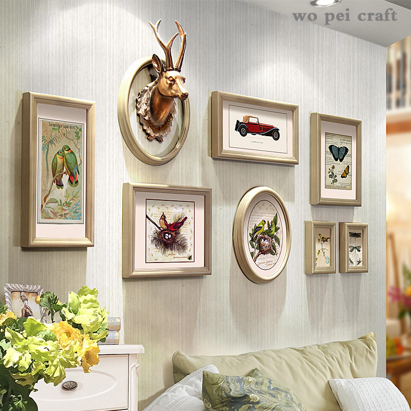8 Pcs-set Mural Deer Head Hanging Ornament Animal Picture Wooden Photo Framed Bar Wall Ornaments American Rustic Home Decor