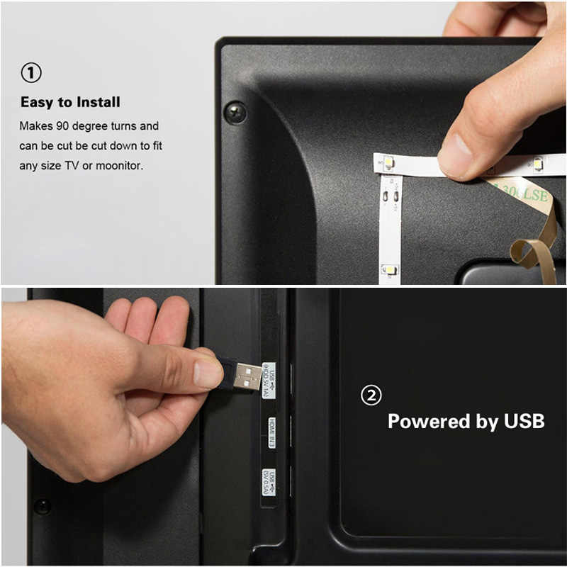 Tira de luces LED USB 2835 RGB de 0,5 M, 1M, 2M, 3M, 4M, 5M, 60 LEDs/Metro, cinta de luz de diodo impermeable con control remoto LED RGB de 24 teclas