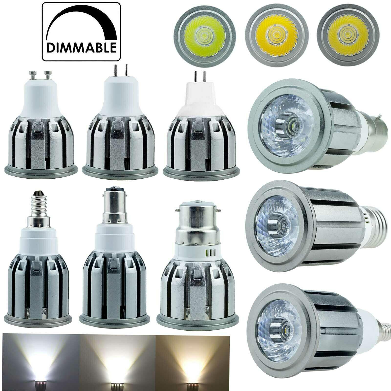 E27 E12 E14 B22 B15 GU10 GU5.3 Диммируемый Светодиодный точечный светильник s COB точесветильник светильники яркие домашние лампы 110 В 220 В C36 Алюминий 5 Вт 7...
