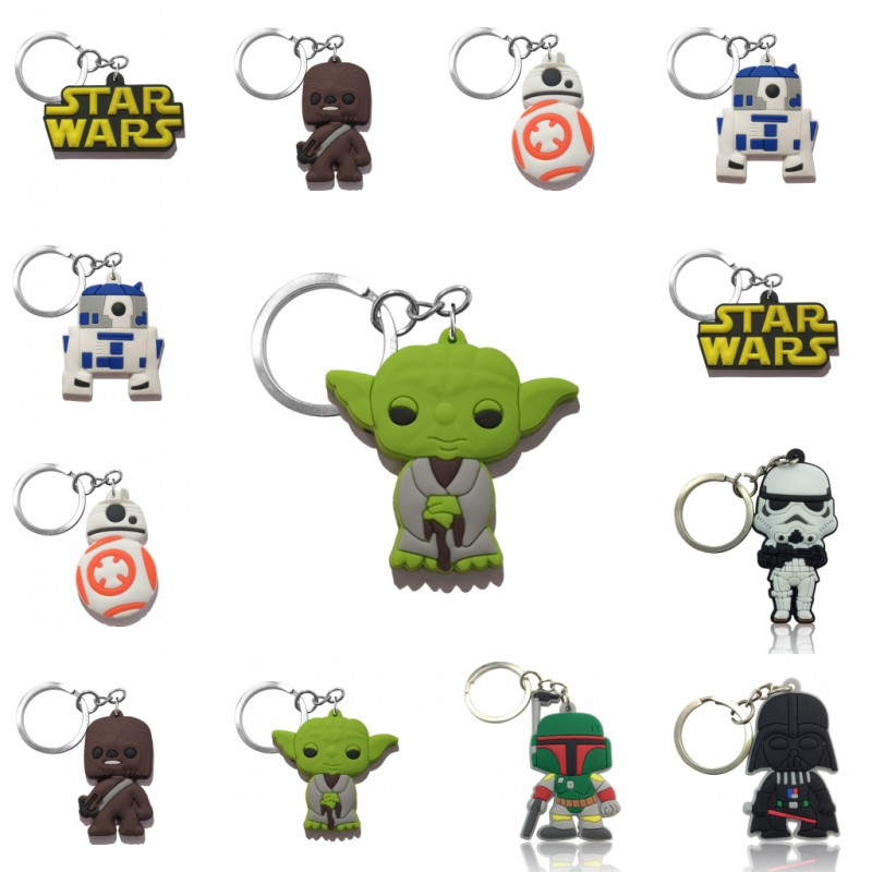 1PCS PVC Cartoon Keychain Star Wars Key Chain Mini Anime Key Ring Kids Toy Pendant Key Holder Fashion Charms Trinkets