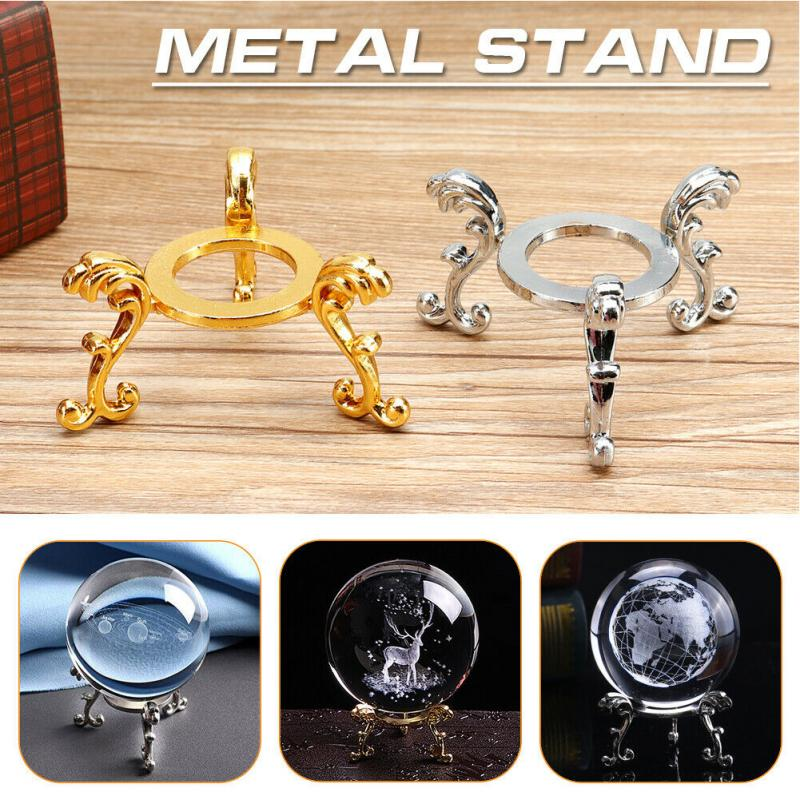 Crystal Ball Stand Ornaments Home Decor Photography Props Desktop 3D Engraved Metal Base DIY Gift Sphere Holder Gemstone