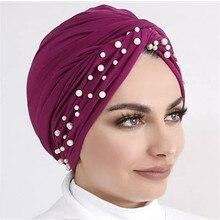 2020 neue samt turbane für frauen perlen turban femme musulman frauen kopf schal turban kappe winter indische hut turbante mujer
