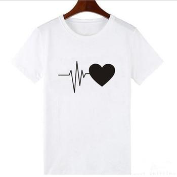 Cute Heart Print Tshirt Women's Summer Tops Harajuku Graphic Tee Shirt Feamle Casual T Shirt Black White Tee Shirt Femme